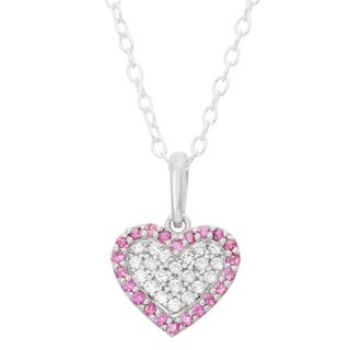 Junior Jewels Sterling Silver Cubic Zirconia Red Heart Trim Necklace