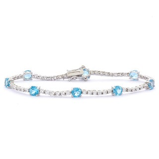 Gioelli Sterling Silver Swiss Blue Topaz and Created White Sapphire Bracelet