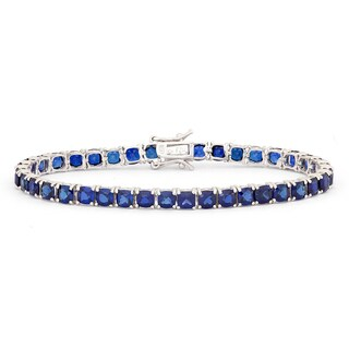 Gioelli Sterling Silver Cushion Created Sapphire Bracelet
