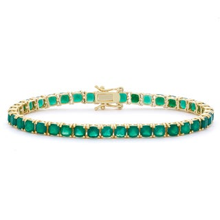 Gioelli 14k Goldplated Cushion Green Onyx Gemstone Bracelet