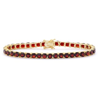 Gioelli 14k Goldplated Cushion Garnet Gemstone Bracelet