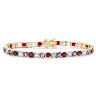 Gioelli 14k Goldplated Cushion Multi-colored Gemstone Bracelet