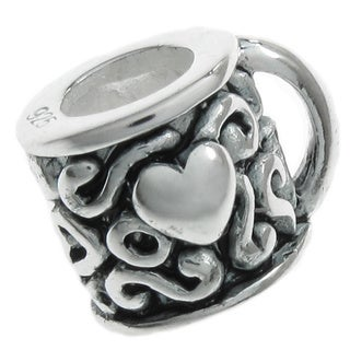 Queenberry Sterling Silver Heart Coffee Cup European Bead Charm