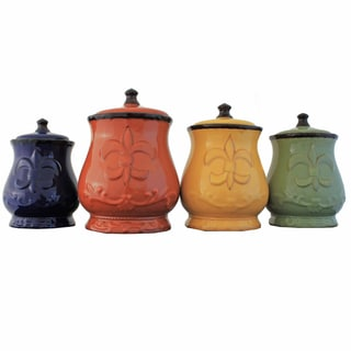 French Tradition Fleur-De-Lis Hand-painted 4-piece Food Storage Canister Set