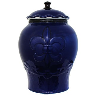 French Tradition Blue Fleur-De-Lis Hand-painted Cookie Jar