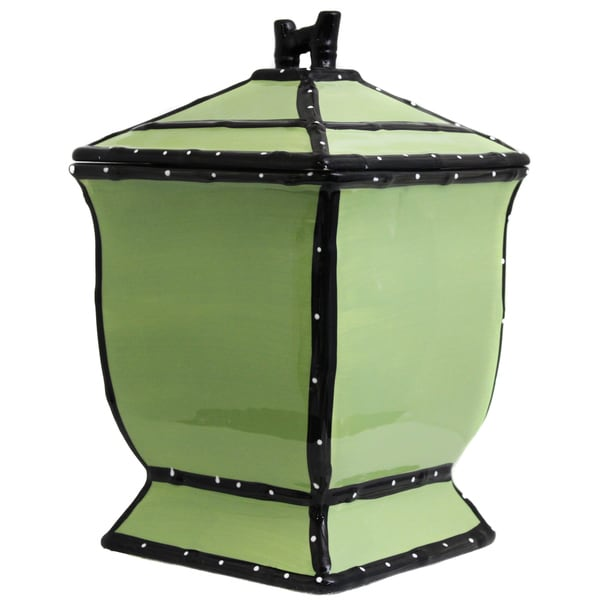 Country French Collection Hand-painted Green Cookie Jar
