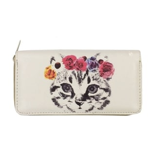 Flower Crown Kitten Zip-around Wallet