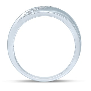 Unending Love 10k White Gold Men's 1/6ct TDW Diamond Slanted 9-stone Wedding Band