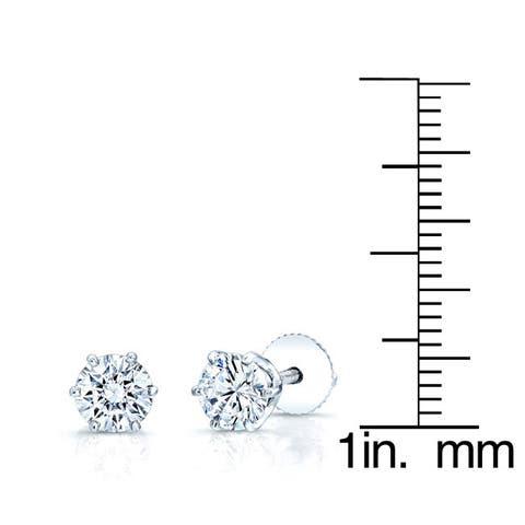 Estie G 14k White Gold 1 1/2ct TDW Diamond Baskey Stud Earrings