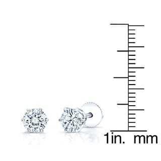 Estie G 14k White Gold 1 1/2ct TDW Diamond Baskey Stud Earrings (H-I, VS1-VS2)