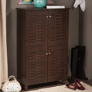 Baxton Studio Rhodes Dark Brown 4-door Shoe Cabinet