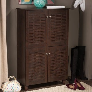Porch & Den Victoria Park Bontona Dark Brown 4-door Shoe Cabinet