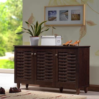 Baxton Studio Rhodes Dark Brown 3-door Shoe Cabinet|https://ak1.ostkcdn.com/images/products/10240648/P17360342.jpg?impolicy=medium