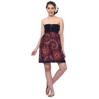 La Leela Women's Cotton Black All-over Printed Halter Backless Short Tube Dress