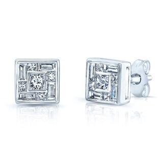 Estie G 18k White Gold 1/2ct TDW Invisible-set Diamond Square Earrings