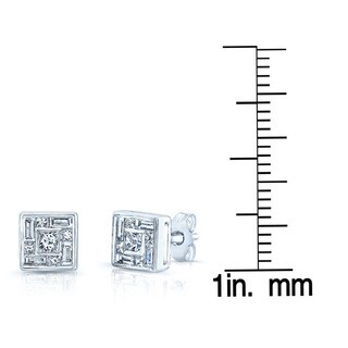 Estie G 18k White Gold 1/2ct TDW Invisible-set Diamond Square Earrings