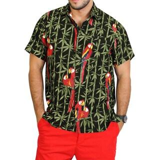 La Leela Men's Green Cotton Parrot Printed Hawaiian Camp Shirt
