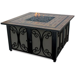 LP Gas Outdoor Firebowl with Slate Tile Mantle