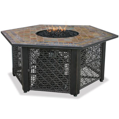 LP Gas Outdoor Fire Pit with Slate Mantel