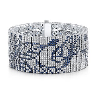 Estie G 18k White Gold 12 3/4ct TDW Diamond and Blue Sapphire Butterfly Pattern Bracelet (H-I, VS1-VS2)