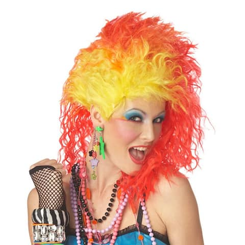 True Colors Wig Adult Costume Cyndi Lauper 80's Pop Singer Glam Punk Yellow