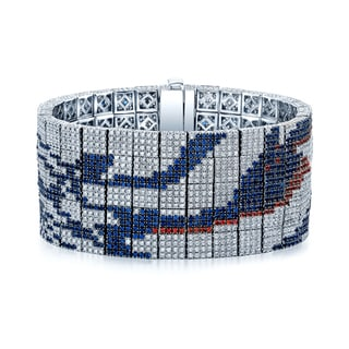 Estie G One-of-a-Kind 18k White Gold 12 1/2ct TDW Diamond and Orange and Blue Sapphire Bracelet (H-I, VS1-VS