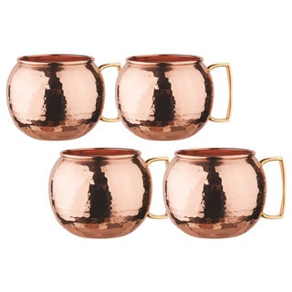 Old Dutch Solid CopperUnlined 32 oz. Hammered Globe Moscow Mule Mugs - Set of 4