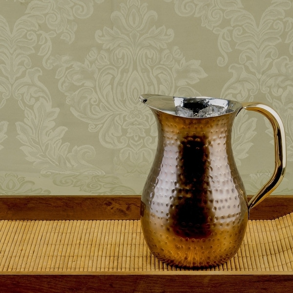 Hand-hammered 2.25-quart Copper Plated Water Pitcher. Opens flyout.