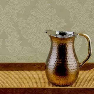 Hand-hammered 2.25-quart Copper Plated Water Pitcher|https://ak1.ostkcdn.com/images/products/10240791/P17360461.jpg?impolicy=medium