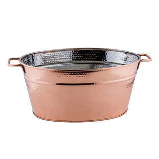 Hammered Decor Copper Oval 5.75-gallon Beverage Tub