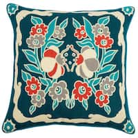 Rizzy Home Laura Fair Floral Blue 22-inch Decorative Throw Pillow