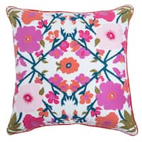 Rizzy Home Laura Fair White Floral 22-inch Decorative Throw Pillow