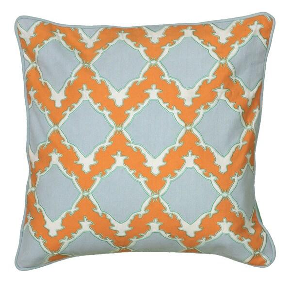 Rizzy Home Laura Fair Orange Check 18-inch Decorative Throw Pillow