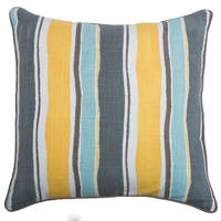 Rizzy Home Laura Fair Blue Stripe 20-inch Decorative Throw Pillow