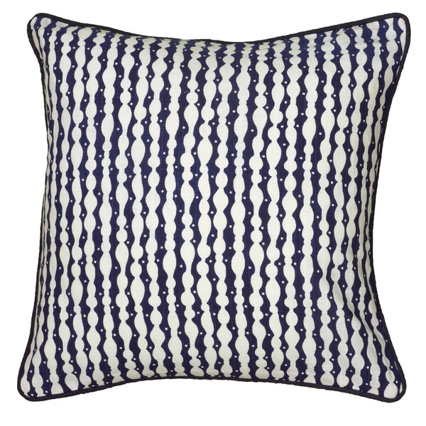 Rizzy Home Laura Fair Blue Stripe 18-inch Decorative Throw Pillow