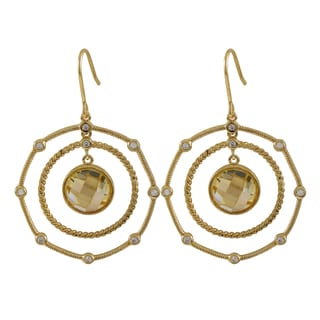 Luxiro Sterling Silver Gold Finish Champagne Cubic Zirconia Circle Earrings