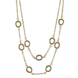 Luxiro Gold Finish Textured Ovals Two Row Station Necklace