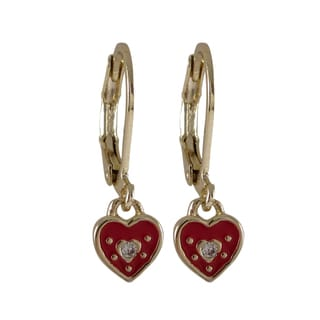 Luxiro Gold Finish Crystals and Enamel Heart Girls Earrings