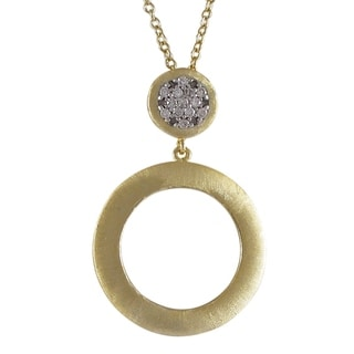 Luxiro Gold Finish Two-tone Cubic Zirconia Brushed Circle Pendant Necklace
