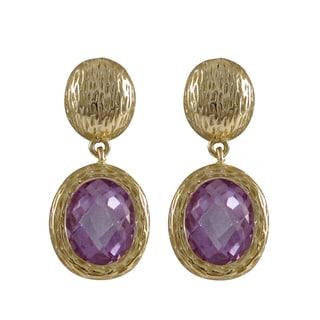 Luxiro Gold Finish Cubic Zirconia Oval Dangle Earrings