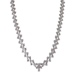 Luxiro Sterling Silver Cubic Zirconia Marquise Tennis Necklace