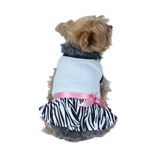 Anima Soft Cotton Jersey Top with Fun Zebra Print Skirt for Pet Dogs