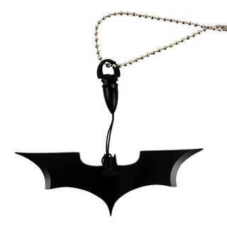 "Black Batman Necklace Knife Wuu Jau 4"" Bat Man Dark Knight Gotham Prop"