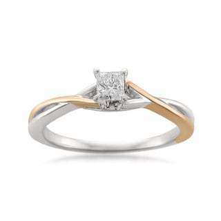 Montebello 14k Two-tone Gold 1/4ct TDW Princess-cut Solitaire Engagement Ring