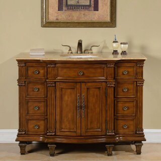 Silkroad Exclusive Travertine Stone Top Bathroom Single Sink Vanity - Brown