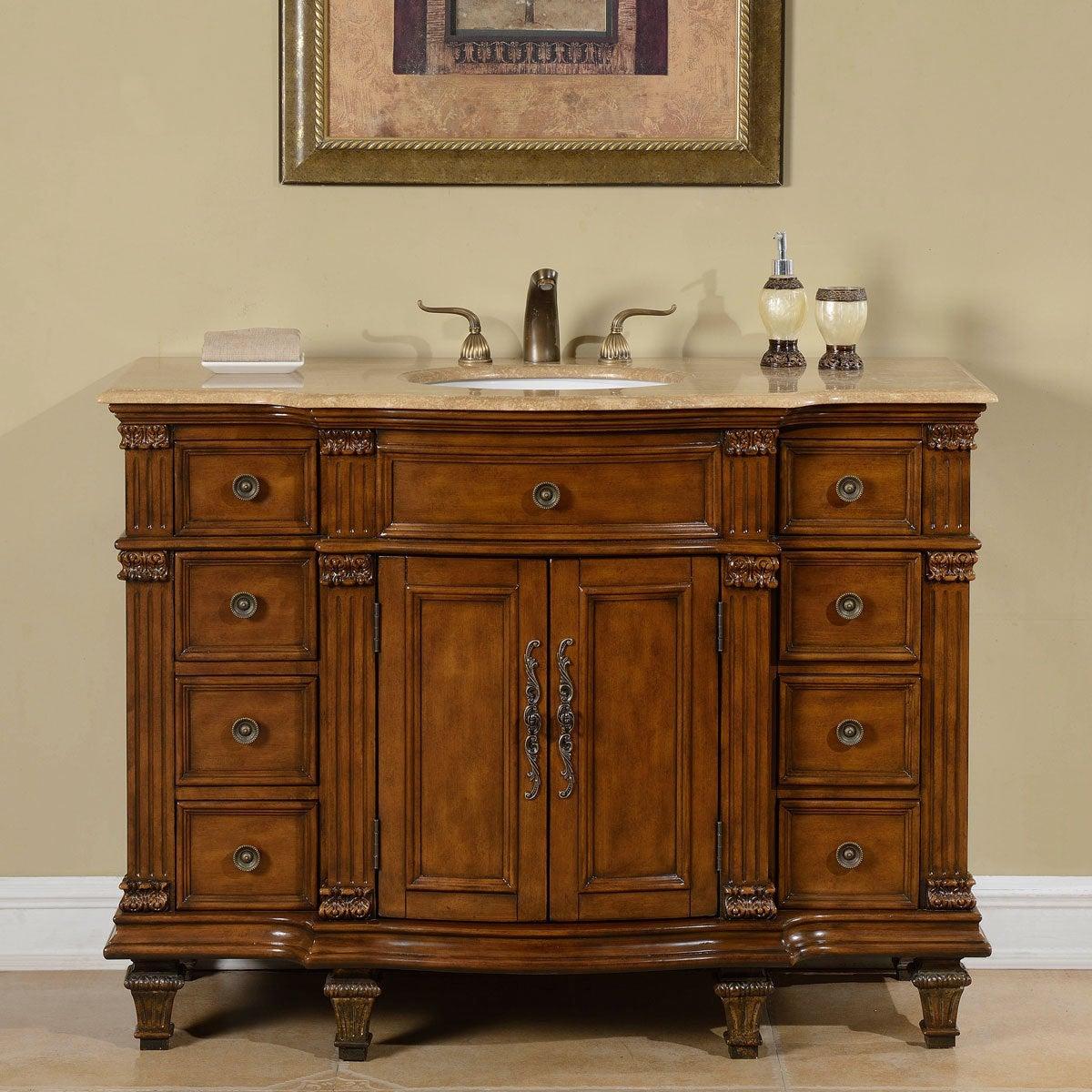 Silkroad Exclusive Travertine Stone Top Bathroom Single Sink Vanity Overstock 10240986