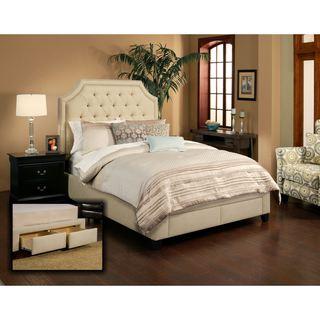 Audrey 2 Drawer Wheat Upholstered Platform Storage Bed