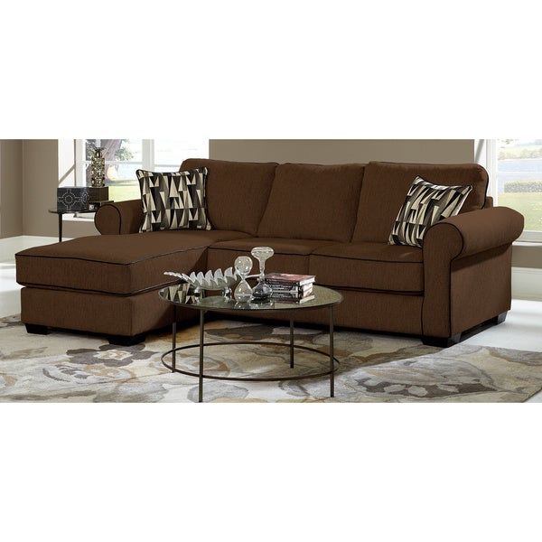 Chocolate Chenille Sofa Chaise Sectional  sc 1 st  Overstock : chenille sofa with chaise - Sectionals, Sofas & Couches