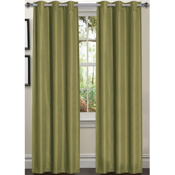 Luxury Dot Texture Faux Silk Blackout 84-inch Curtain Panel Pair ...