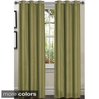 Luxury Dot Texture Faux Silk Blackout 84-inch Curtain Panel Pair
